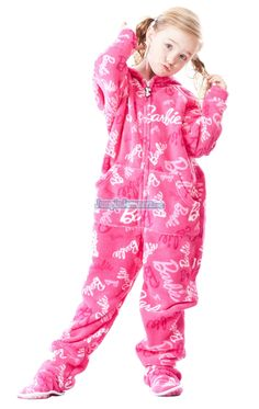 hot pink barbie footed adult pajamas