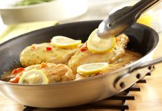 Here's a tasty, quick-cooking skillet dish that features sautéed chicken breasts in abrightly flavored lemon sauce. Give it a try...you're gonna love it!