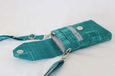 Cell phone bag mobile phone bag Small Crossbody purse in teal by Tracey Lipman