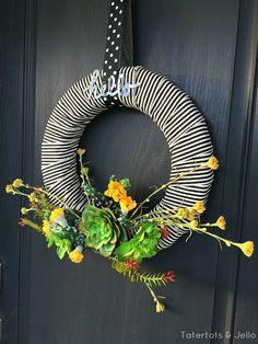 summer striped succulent wreath