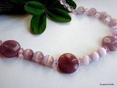 Items similar to Pink Lilac Glass Bead Necklace - on Etsy Beaded Necklace, Beaded Bracelets, Lilac, Pink, Glass Beads, Trending Outfits, Unique Jewelry, Handmade Gifts, Etsy