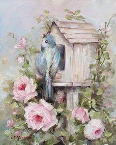 Bluebird in birdhouse