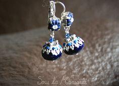 Boucles d'oreilles créoles, Meli / Boucles d'oreilles bleu nuit, argenté est une création orginale de Sous-La-Mansarde sur DaWanda