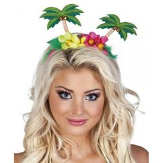 Palm Tree Headband - Hawaiian Summer Party Hats & Accessories - Festival Headbands (each): Create an island oasis of your own with this cute palm tree headband, helping to keep your hair tropical and held together, perfect for beach and luau parties. Palm Tree Flowers, Palm Trees, Hawaiian Skirt, Tropical, Fancy Dress Accessories, Palmiers, Fancy Dress Up, Luau Party, Beach Party