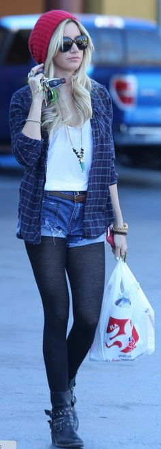 Who made  Ashley Tisdale's denim shorts, black boots, and watch that she wore in Studio City?