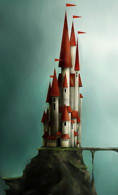 Castle ~ by TinyPilot@DeviantArt  what a lovely bunch of spikey red roofs!