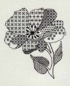 pretty flower in blackwork stitches Motifs Blackwork, Blackwork Cross Stitch, Blackwork Embroidery, Cross Stitching, Cross Stitch Embroidery, Embroidery Patterns, Cross Stitch Designs, Cross Stitch Patterns, Cross Stitch Flowers