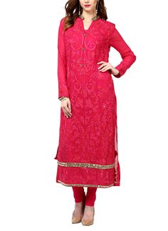 Elegantly embroidered, this beautiful pink coloured suit is the ideal pick for an evening event. The subtle details and elegant embroidery do all the talk. Accessorise lightly.