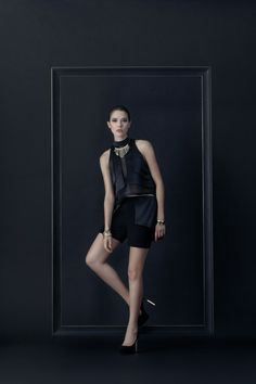 Beautiful Hidden Sleeveless Crop Top – Classy and Shiny with a fabulous material to wave a top of body shine.   Lustrous thought Flat Shorts –Comfort zone with classy flat shorts; two materials contrast a flat shorts never be just a shorts any more. #fashion #fashiondesign #fashiondesigner #Thaidesigner #readytowear #aw2014 #MUETTA #Thailand