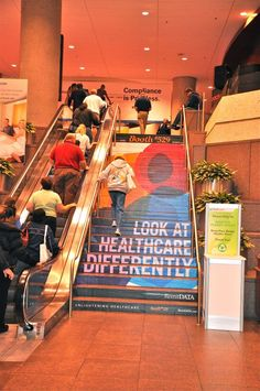 Check out this awesome example of how the stairs are turned into an enormous advertisement through the use of custom #floorgraphics.