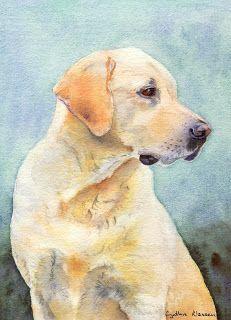 Watercolor portrait of a Yellow Labrador Retriever by Cynthia Klassen. See CynthiaKlassen.com