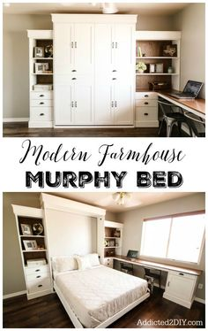 DIY Modern Farmhouse Murphy Bed - How To Build the Bed and Bookcase - Addicted 2 DIY - - You don't have to give up your office or craft space! Build a gorgeous murphy bed with this helpful tutorial and FREE plans! Bedroom Storage, Modern Farmhouse Diy, Farmhouse Murphy Beds, Guest Bedrooms, Murphy Bed Ikea, Bedroom Diy, Small Bedroom, Decorate Your Room, Murphy Bed Diy