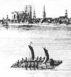 """Le """"cajeu"""", autre type d'embarcation (de charge) utilisée sur les fleuves et lacs de Nouvelle France à la même époque."""