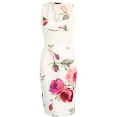 Classic Floral Midi Dress (86 SAR) ❤ liked on Polyvore featuring dresses, floral print midi dress, flower pattern dress, mid calf dresses, white dress and floral dress