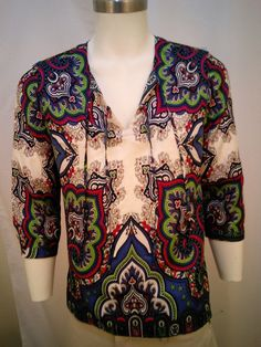 Talbots Women's Colorful Size 8 100% Silk Top  Blue Strings Long Sleeves #Talbots #Blouse #Casual