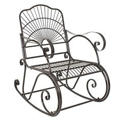 Perfect for your porch or patio Powder coated finish is rust resistant Sloped seat and curved armrests for added comfort Patio Rocking Chairs, Patio Chairs, Outdoor Chairs, Outdoor Decor, Chaise Gaming, Home Decor Furniture, Outdoor Furniture, Metal, Wrought Iron