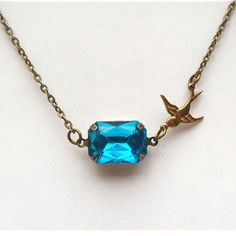 Antiqued Brass Bird Blue Quartz Necklace.