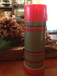 Aladdin Olive green with red stripes vintage quart size thermos *RARE FIND* by shhhitsvintage on Etsy https://www.etsy.com/listing/267731149/aladdin-olive-green-with-red-stripes