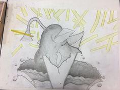 Het eindresultaat! De laatste les heb ik vooral veel schaduwen gemaakt in de dolfijn. Ik heb de patatjes geel gemaakt zodat je beter kan zien dat het patat is. De zak patat wat uit scheurt daar heb ik de lijnen dikker gemaakt zodat het wat meer uit komt. De schaduwen vond ik erg moeilijk om te maken omdat je toch van licht naar donker moet en het geconcentreerd werk is maar het is toch gelukt. Als ik nog een keer zo'n tekening moet maken zou ik de patatjes en de splash anders maken zodat je…