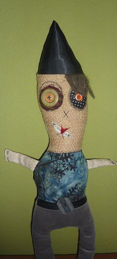 Joe the monster fiber art doll.