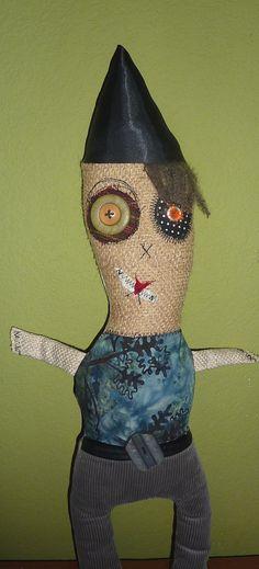 Joe the monster fiber art doll.