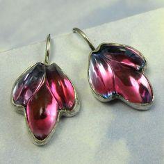 Sterling Silver Earrings Red Fuschia Flower by NicolettesJewelry