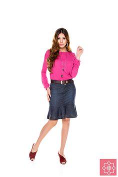 Saia Com Babado GodeNítido Jeans #viaevangelica #nitidojeans #modaevangelica #modafeminina