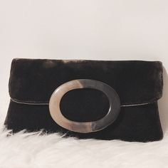 """Tortoise Trimmed Chocolate Velvet Clutch Designer chic! Chocolate brown velvet clutch with large size oval tortoise detail. Snap front closure, fully lined in satin, Interior zipper pocket. 9"""" wide X 5"""" high X 1"""" wide Shiraleah Bags Clutches & Wristlets"""