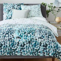 400-Thread-Count Organic Sateen Canopy Duvet Cover + Shams - Blue Teal