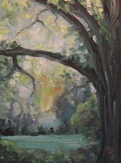 "Daily Paintworks - ""Morning Light behind the Oak"" - Original Fine Art for Sale - © H.F. Wallen"