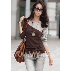 $5.28 Glamour Round Neck Color Block Splice Design Long Sleeve Slim Fit Cotton Blend T-Shirt For Women