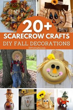 16 Fun DIY Scarecrow Crafts For Fall Decorating - Fall is nearly here! That means lots of pumpkins, beautiful colors and of course, scarecrows! Do you decorate with scarecrows for fall? If you don't, then you should and I have a great list of 16 fun DIY scarecrow crafts that will help you. These are all pretty easy and many of them are great for kids to do. #diy #decorating #fall #crafts #decor #kidscrafts #scarecrow Scarecrow Crafts, Halloween Crafts, Scarecrows, Diy Craft Projects, Diy Crafts, Kids Fall Crafts, Create And Craft, Fall Decorating, Fun Diy
