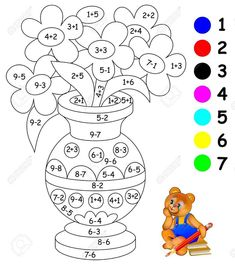 Educational Page With Exercises For Children On Addition And Subtraction. Need To Paint Image In Relevant Color. Stock Vector - Illustration of exercise, color: 91448213 Kindergarten Addition Worksheets, First Grade Math Worksheets, Kindergarten Activities, Preschool Activities, Preschool Learning, English Activities For Kids, Educational Activities For Kids, Math For Kids, Math Coloring Worksheets