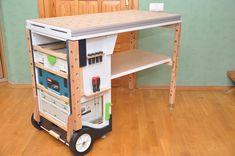 Мобильный верстак MFTC Portable Workbench, Mobile Workbench, Workshop Storage, Garage Workshop, Diy Garage Storage, Tool Storage, Festool Kapex, Workbench Designs, Tool Cart