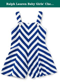Ralph Lauren Baby Girls' Chevron-Striped Cotton Romper (6 MONTHS, CLASSIC OXFORD WHITE). It's easy to dress her up for a beach day or a playdate in this chevron-striped romper, which is made from soft cotton jersey and has cute straps that button at the front.