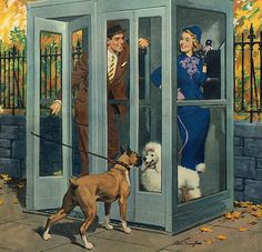 """""""Phone Booth Meeting"""" art by Arthur Sarnoff, detail from American Weekly cover - October 27, 1957"""