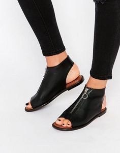 Buy Warehouse Leather Zip Up Shoe Boot at ASOS. Get the latest trends with ASOS now. Up Shoes, Sock Shoes, Shoe Boots, Flat Shoes, Oxford Shoes, Cute Sandals, Shoes Sandals, Bunion Shoes, Pretty Shoes