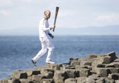 London 2012 Olympic Torch in Northern Ireland at Giants Causeway