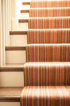 Multicolored striped stair runner to the basement. My kind of pop of colour. Striped Carpets, Patterned Carpet, Bedroom Carpet, Living Room Carpet, Carpet Design, Floor Design, Missoni, House Stairs, Carpet Styles