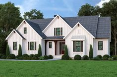 We love this new modern farmhouse plan! Check out the board-and-batten siding. Questions? Call 1-800-447-0027 today. #architect #architecture #buildingdesign #homedesign #residence #homesweethome #dreamhome #newhome #newhouse #foreverhome #interiors #archdaily #modern #farmhouse #house #lifestyle #designer Modern Farmhouse Plans, Farmhouse Design, Cottage Farmhouse, Cottage House, Farm House, Best House Plans, House Floor Plans, American Farmhouse, How To Plan