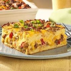 Breakfast is a breeze with this all in one breakfast casserole that has sausage, eggs, cheese, bread.  If you like, add tomatoes and mushrooms too!