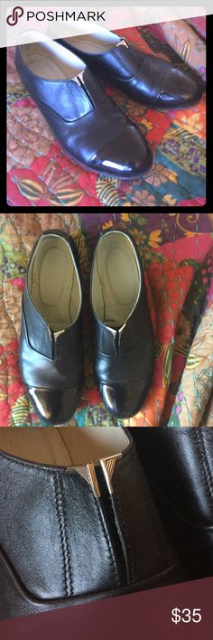 Beautiful black leather & patent point flat shoes Got them in a fancy boutique back in Chile, they are hand made of black leather and have a patent black leather point. They have a metallic megapretty detail in the front. Size 10. Shoes Flats & Loafers