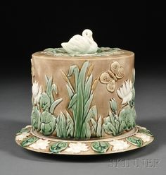 Griffen, Smith & Hill Majolica Cheese Dish and Cover, United States, late 19th century