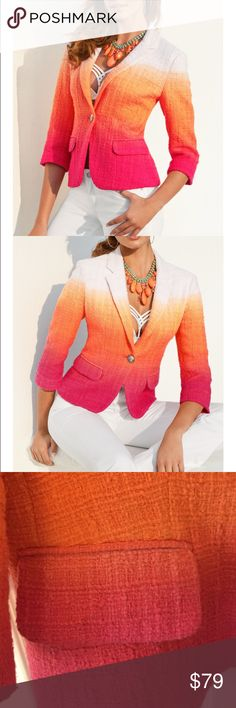 Boston Proper sz10 ombre jacket/blazer Awesome Boston Proper blazer sz 10 very beautifully done ombre (white-orange-pink-fuchsia) great with almost anything to bring some pop of color. Stunning  blazer dip-dyed in fiery hues. Three-quarter sleeves. Flap pockets. Fully lined. Boston Proper Jackets & Coats Blazers