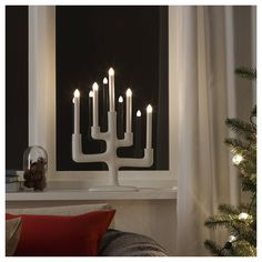 IKEA STRÅLA LED candelabra Branch/dark grey 49 cm The LED light source consumes up to less energy and lasts 10 times longer than incandescent bulbs. Centerpiece Decorations, Light Decorations, Christmas Decorations, Branches, Living Room Furniture, Home Furniture, Chandelier, Ikea Us, Home