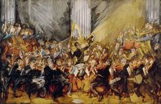 The Orchestra. Gustav Mahler conducting the Vienna Philharmonic (Painting by Max Oppenheimer, : classicalmusic Vienna Philharmonic, Gustav Mahler, Music Painting, Classical Music, Orchestra, Baroque, Fine Art, Paintings, Shrimp