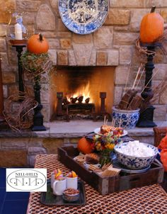 The blue on my patio is the perfect mate for October's orange! The stage is set for our s'mores party.