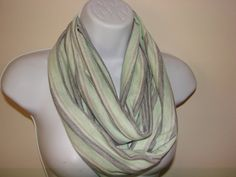 mint grey striped infinity scarf Eternity Scarf  by OtiliaBoutique