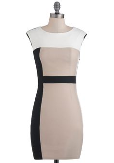 $35.99 Music Business Meeting Dress - Multi, Tan / Cream, Black, Sheath / Shift, Sleeveless, Short, White, Party, Girls Night Out, Bodycon / Bandage, Colorblocking