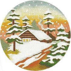 Melissa Shirley Designs | Hand Painted Needlepoint | Winter Sunset Cottage